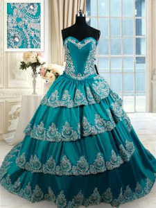 Fantastic Teal Lace Up Sweetheart Beading and Embroidery and Ruffled Layers Vestidos de Quinceanera Taffeta Sleeveless