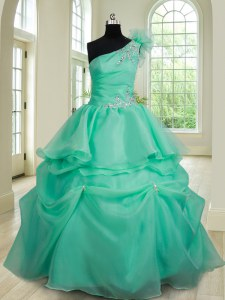 Flirting Floor Length Turquoise 15 Quinceanera Dress One Shoulder Sleeveless Lace Up