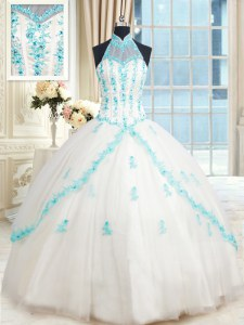 Halter Top Tulle Sleeveless Floor Length Quinceanera Gowns and Beading and Appliques