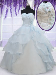 Sleeveless Organza Floor Length Lace Up Quinceanera Gowns in Light Blue with Appliques and Ruffled Layers