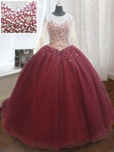Wine Red Scoop Neckline Beading and Sequins Ball Gown Prom Dress Long Sleeves Lace Up