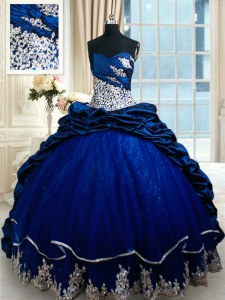 Beautiful Sweetheart Sleeveless Taffeta Sweet 16 Quinceanera Dress Appliques and Pick Ups Court Train Lace Up