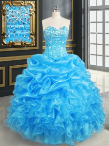 Romantic Organza Sweetheart Sleeveless Lace Up Beading and Ruffles and Pick Ups Ball Gown Prom Dress in Baby Blue