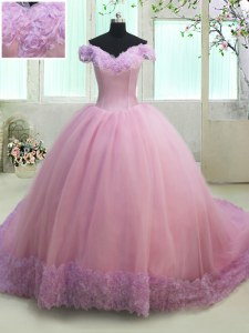 Luxurious Off the Shoulder Cap Sleeves With Train Lace Up Sweet 16 Dress Lilac for Military Ball and Sweet 16 and Quinceanera with Ruching Court Train