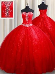 Beading 15 Quinceanera Dress Red Lace Up Sleeveless