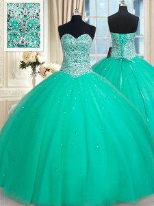 Simple Sweetheart Sleeveless Sweet 16 Dresses Floor Length Beading Turquoise Tulle