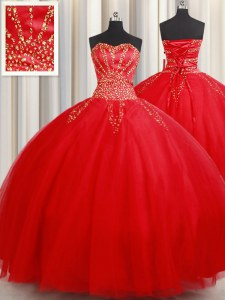 Clearance Floor Length Red Quinceanera Gown Sweetheart Sleeveless Lace Up