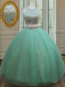 Scoop Sleeveless Tulle Floor Length Zipper Quinceanera Gown in Apple Green with Beading