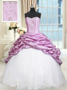 Flirting Sleeveless Organza and Taffeta Floor Length Lace Up Sweet 16 Dresses in Multi-color with Beading and Pick Ups