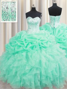Apple Green Lace Up Sweet 16 Quinceanera Dress Beading and Ruffles and Pick Ups Sleeveless Floor Length