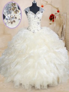 Champagne Straps Zipper Beading and Ruffles Quinceanera Dress Cap Sleeves