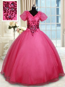Beading Quinceanera Gown Coral Red Lace Up Short Sleeves Floor Length