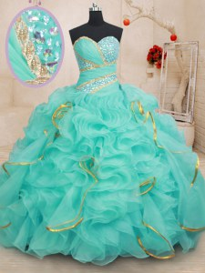 Floor Length Apple Green Quinceanera Gown Organza Sleeveless Beading and Ruffles and Sequins
