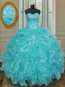 Aqua Blue Ball Gowns Organza Sweetheart Sleeveless Beading and Ruffles Floor Length Lace Up Quinceanera Gown