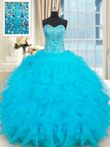 Designer Sleeveless Beading and Ruffles Lace Up 15 Quinceanera Dress