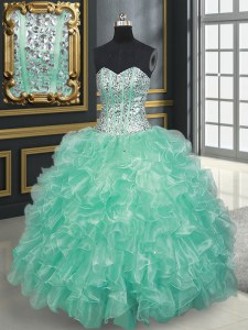 Customized Sweetheart Sleeveless Lace Up 15th Birthday Dress Apple Green Organza