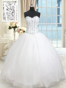 Sequins Ruffled Ball Gowns Quince Ball Gowns White Sweetheart Tulle Sleeveless Floor Length Lace Up