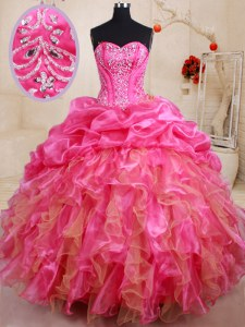 Flirting Sleeveless Lace Up Floor Length Beading and Ruffles and Pick Ups 15th Birthday Dress