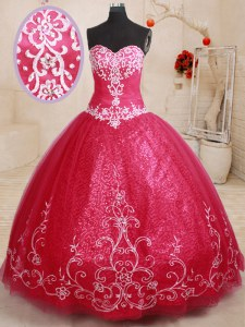 Coral Red Quinceanera Dresses Military Ball and Sweet 16 and Quinceanera and For with Beading and Appliques and Embroidery Sweetheart Sleeveless Lace Up