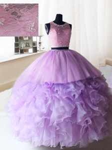 Scoop Sleeveless Organza and Tulle Quince Ball Gowns Beading and Ruffles Zipper