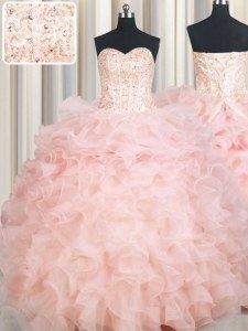 Baby Pink Organza Lace Up Quinceanera Gown Sleeveless Floor Length Beading and Ruffles