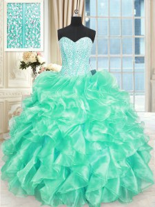Sleeveless Floor Length Beading and Ruffles Lace Up Quinceanera Gown with Turquoise