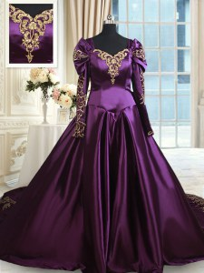 Elegant Dark Purple Off The Shoulder Zipper Beading and Embroidery 15th Birthday Dress Chapel Train Long Sleeves