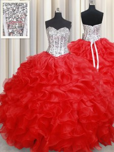 Sophisticated Floor Length Red Sweet 16 Dresses Organza Sleeveless Beading and Ruffles