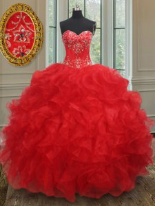 Beauteous Organza Sweetheart Sleeveless Lace Up Beading and Ruffles Sweet 16 Dresses in Red