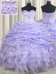 Pick Ups Ball Gowns Sweet 16 Dresses Lavender Sweetheart Organza Sleeveless Floor Length Lace Up