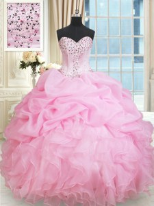 Rose Pink Ball Gowns Organza Sweetheart Sleeveless Beading and Ruffles and Pick Ups Floor Length Lace Up Sweet 16 Quinceanera Dress