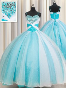 Pretty Organza Sleeveless Floor Length Quinceanera Gown and Beading