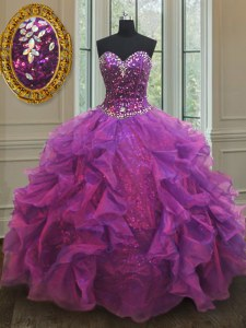 Fabulous Purple Ball Gowns Sweetheart Sleeveless Organza Floor Length Lace Up Beading and Ruffles and Sequins Quince Ball Gowns