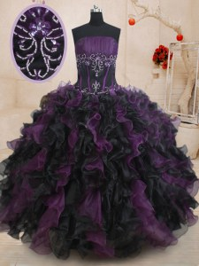 Elegant Sleeveless Lace Up Floor Length Beading and Ruffles 15th Birthday Dress
