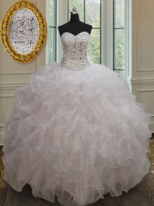White Organza Lace Up 15 Quinceanera Dress Sleeveless Floor Length Beading and Ruffles