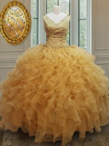 Charming Sleeveless Organza Floor Length Zipper Quinceanera Gown in Gold with Beading and Ruffles