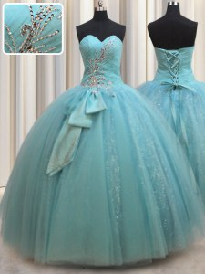 Pretty Sleeveless Floor Length Beading and Bowknot Lace Up Quinceanera Dress with Aqua Blue