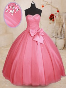 Ball Gowns 15th Birthday Dress Pink Sweetheart Tulle Sleeveless Floor Length Lace Up