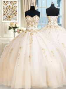 Champagne Tulle Lace Up Sweetheart Sleeveless Floor Length Quince Ball Gowns Beading
