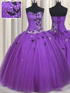 Sleeveless Floor Length Beading and Appliques Lace Up Sweet 16 Dress with Eggplant Purple