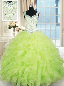 Cheap Straps Sleeveless Floor Length Beading and Ruffles Lace Up Sweet 16 Quinceanera Dress with Yellow Green