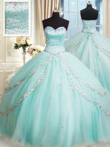 Flirting Sweetheart Sleeveless Quinceanera Gowns With Brush Train Beading Apple Green Tulle