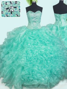 Popular Turquoise Ball Gowns Organza Sweetheart Sleeveless Beading and Ruffles Floor Length Lace Up Quinceanera Dresses