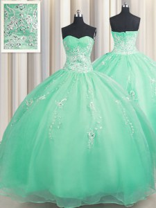 Organza Sweetheart Sleeveless Zipper Beading and Appliques Quinceanera Gowns in Turquoise