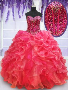 Sweet Floor Length Coral Red 15 Quinceanera Dress Organza Sleeveless Beading and Ruffles