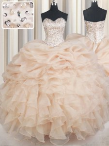 Champagne Sweetheart Neckline Beading and Ruffles and Pick Ups Sweet 16 Quinceanera Dress Sleeveless Lace Up