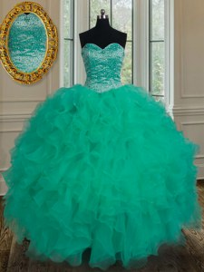 Romantic Turquoise Ball Gown Prom Dress Military Ball and Sweet 16 and Quinceanera and For with Beading and Ruffles Sweetheart Sleeveless Lace Up