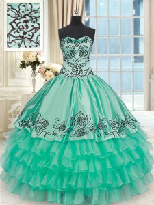 Sexy Turquoise Organza and Taffeta Lace Up Sweet 16 Dress Sleeveless Floor Length Embroidery and Ruffled Layers