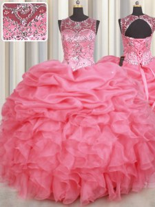 Ideal Watermelon Red Scoop Neckline Beading and Ruffles and Pick Ups 15 Quinceanera Dress Sleeveless Lace Up