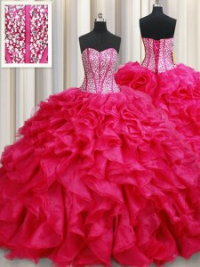 Artistic Coral Red Sweetheart Lace Up Beading and Ruffles Sweet 16 Dress Brush Train Sleeveless